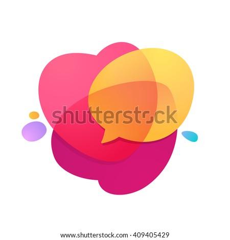 Speech bubble icon with heart volume logo. - stock vector