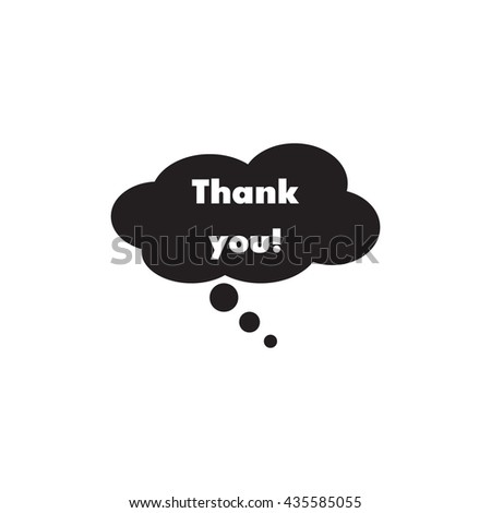 Speech bubble icon with thank you sign - stock vector