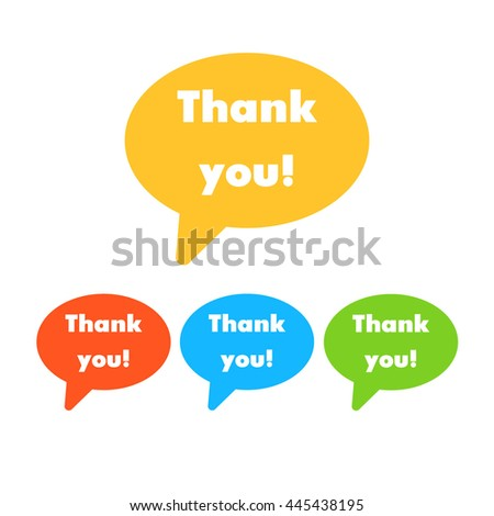 Speech bubble icon with thank you sign