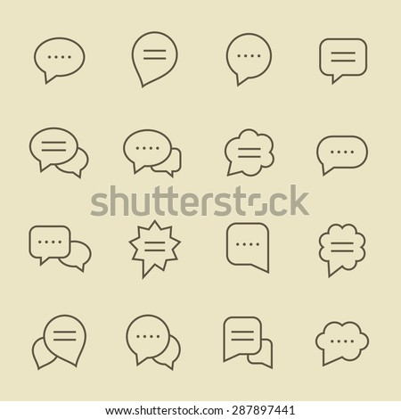 Speech bubble line icon set - stock vector