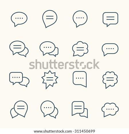 Speech bubble line icons - stock vector