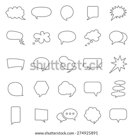 Speech Bubble line icons set.Vector - stock vector
