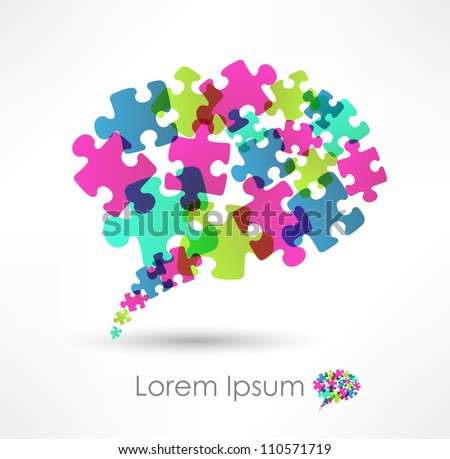 speech bubble made from puzzle - stock vector