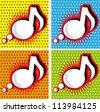 Speech Bubble Music Note in Pop-Art Style - stock vector