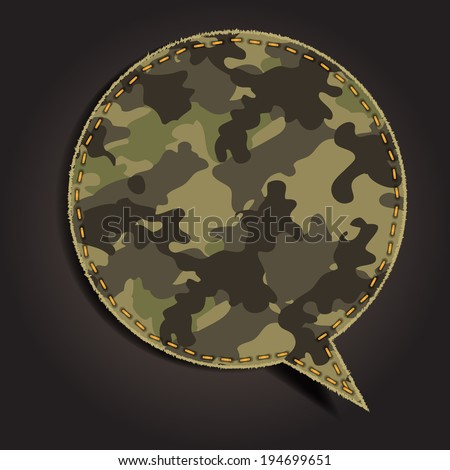 Speech bubble of camouflage fabric pattern shape badges, stickers, labels, tags, Vector template design
