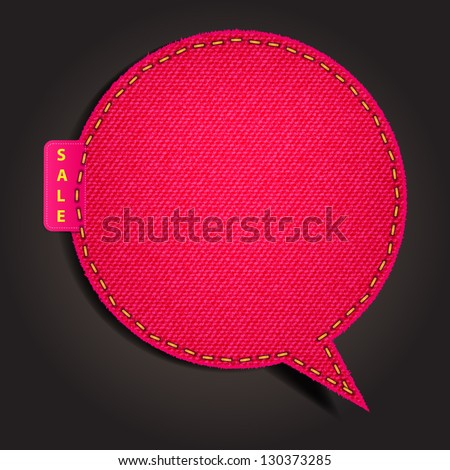 Speech bubble of denim fabric red badges, stickers, labels, tags, Vector template design - stock vector
