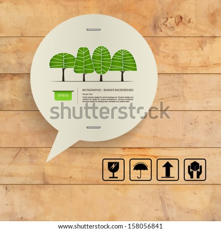 Speech bubble of vintage paper and abstract green tree symbol on grunge wooden texture background - Vector illustration - stock vector