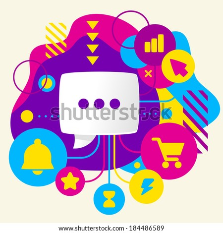 Speech bubble on abstract colorful spotted background with different icons and elements. Flat design  - stock vector
