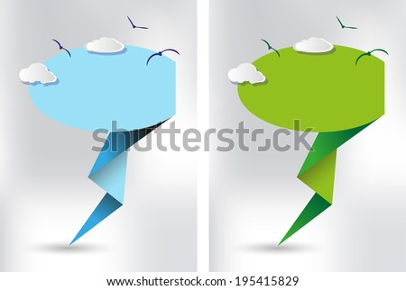 speech bubble origami clouds - stock vector