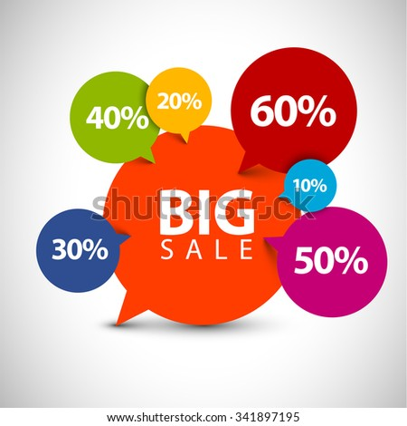 Speech bubble pointer for sale item - various percentage discount - stock vector
