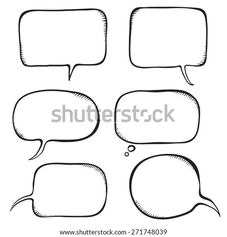 Speech bubble. Sketch vector illustration isolated on white. - stock vector
