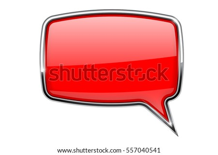 Speech bubble. Square red 3d icon with chrome frame. Vector illustration isolated on white background