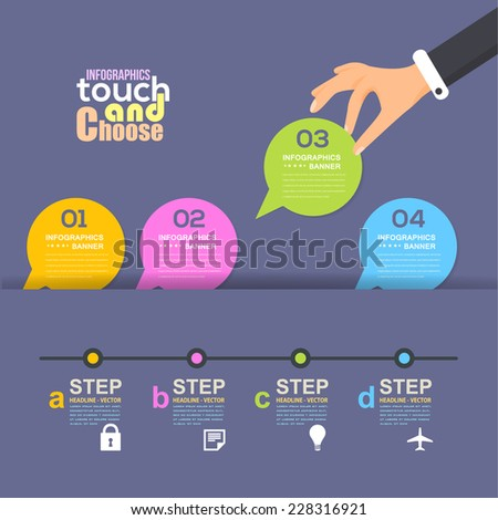 Speech Bubble Style Flat Cut Paper Template and Web Elements - Business, Marketing Infographics - stock vector