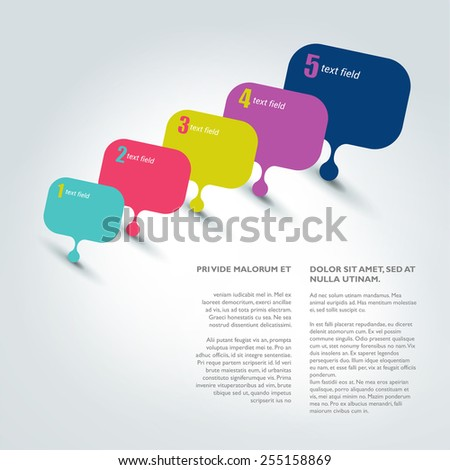 Speech bubble template. Numbered chart. Infographic element. - stock vector
