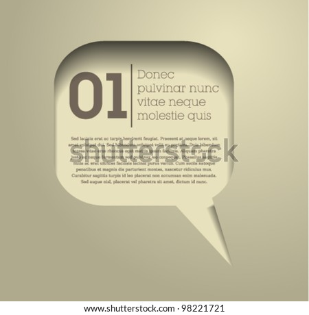 speech bubble / text bubble frame / vector / simple design / web / beige - stock vector