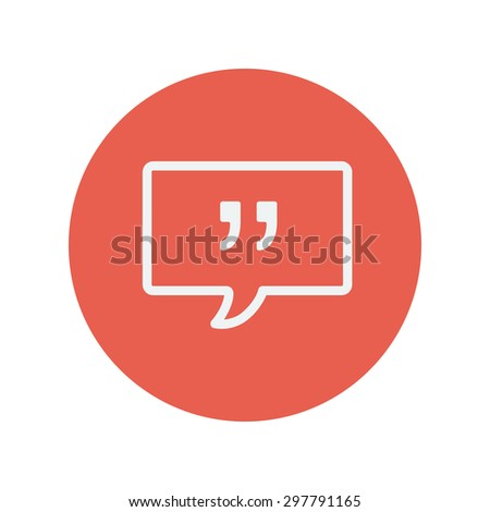 Speech bubble thin line icon for web and mobile minimalistic flat design. Vector white icon inside the red circle. - stock vector