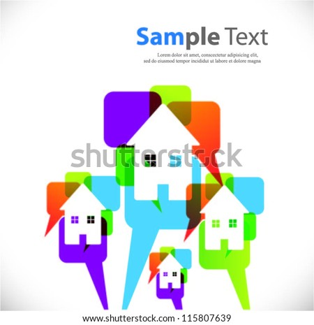 speech bubble vector background with house symbols - stock vector