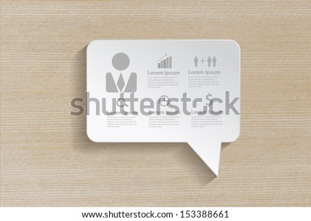 Speech bubble with business icons on wooden background, Vector illustration modern template design  - stock vector
