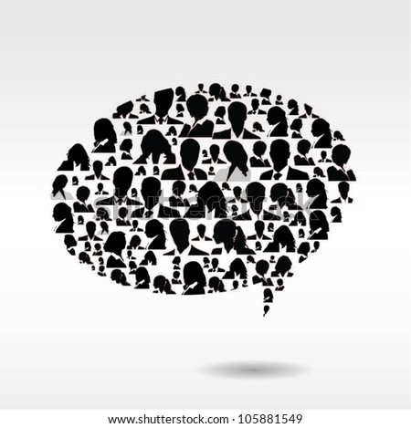 Speech bubble with business people figures. Vector illustration - stock vector