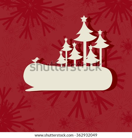 Speech bubble with Christmas trees - stock vector