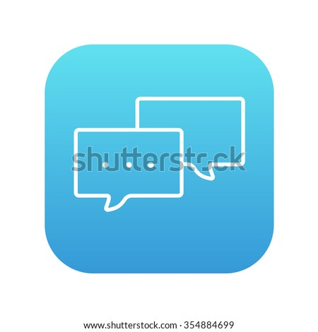 Speech bubble with dots inside line icon for web, mobile and infographics. Vector white icon on the blue gradient square with rounded corners isolated on white background. - stock vector