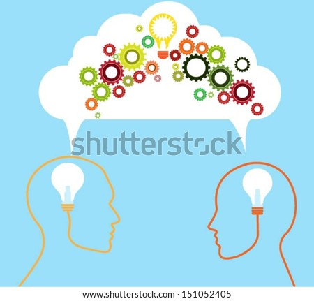 Speech bubble with gears and profiles. vector - stock vector