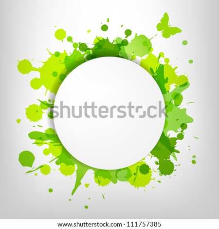 Speech Bubble With Green Blots And Butterfly, Vector Illustration - stock vector