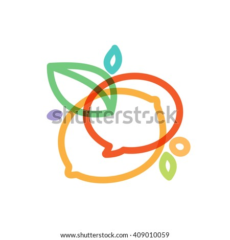 Speech bubble with green leaf line logo. Vector design template elements for your application or corporate identity. - stock vector