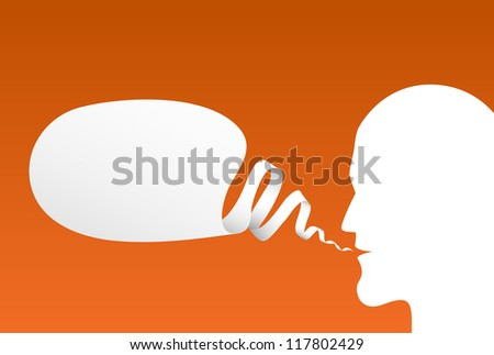 Speech Bubble with head silhouette, vector - stock vector