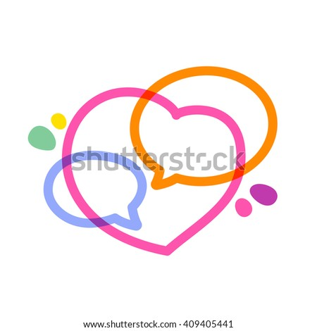 Speech bubble with hearts line logo.Heart Icon Vector. Vector design template elements for your application or corporate identity. - stock vector
