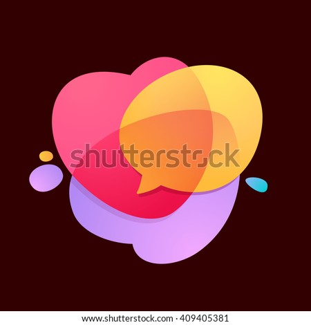 Speech bubble with hearts volume logo. Heart Icon Vector. Vector design template elements for your application or corporate identity. - stock vector