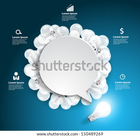Speech bubble with light bulb idea concept, Workflow layout, diagram, step up options, Vector illustration modern template design - stock vector