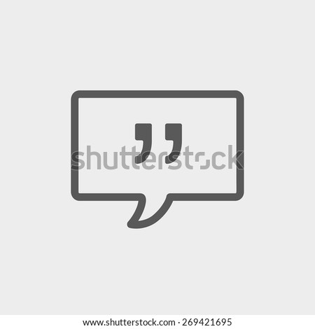 Speech bubble with punctuation symbol icon thin line for web and mobile, modern minimalistic flat design. Vector dark grey icon on light grey background. - stock vector