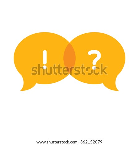 Speech Bubble with question mark and exclamation mark vector design illustration - stock vector