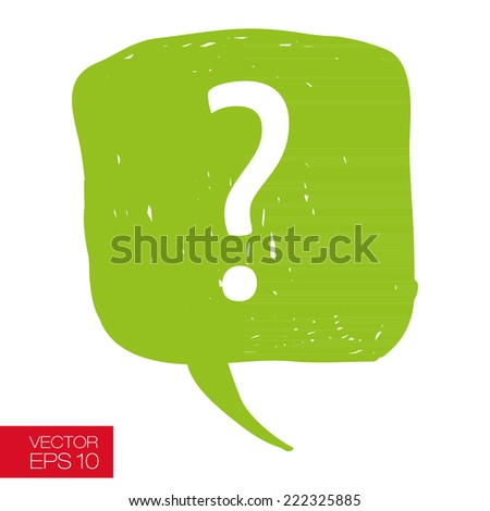 Speech bubble with question mark hand drawn careless casual style vector illustration - stock vector