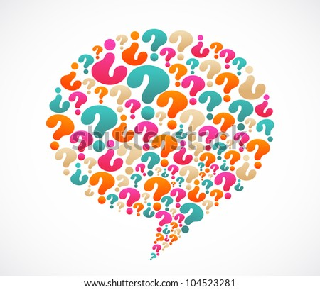 Speech bubble with question mark icons - stock vector