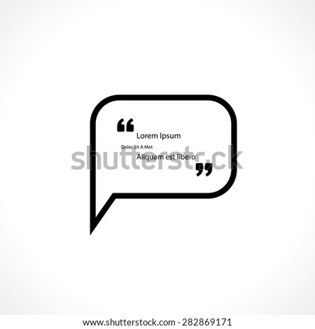 speech bubble with quotes for text - stock vector