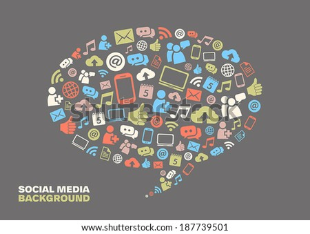 Speech bubble with social media icons representing connection and communication.