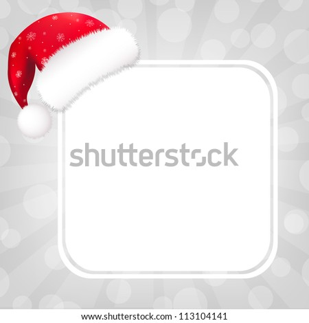 Speech Bubble With Sunburst And Santa Hat, Vector Illustration - stock vector