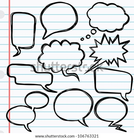 Speech bubbles - A set of 10 speech bubbles with a scribble effect. - stock vector