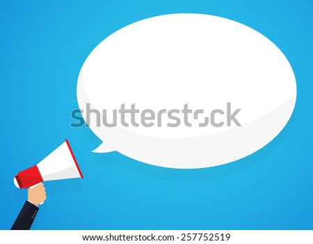 Speech bubbles announced by megaphone, illustration. - stock vector