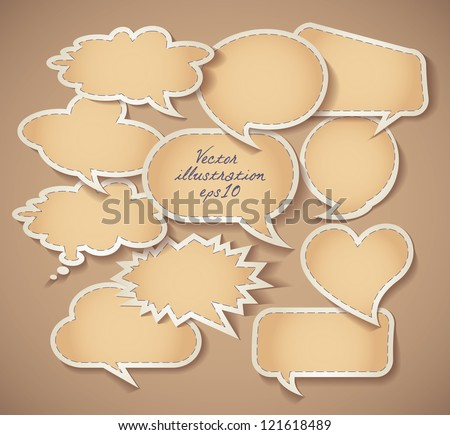 Speech bubbles Cardboard. Set. Vector illustration eps 10