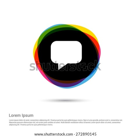Speech bubbles Chat icon, White pictogram icon on multicolor circle creative Multicolor background. Vector illustration. Flat design style. Flat icon, green, red, yellow, black beautiful background - stock vector