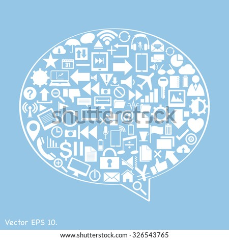 Speech Bubbles Design with Creative web icons, business icons, technology icons and strategy planning icons Idea, Vector Illustration EPS 10.