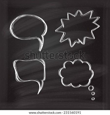 Speech bubbles doodle icones set in black chalkboard - stock vector