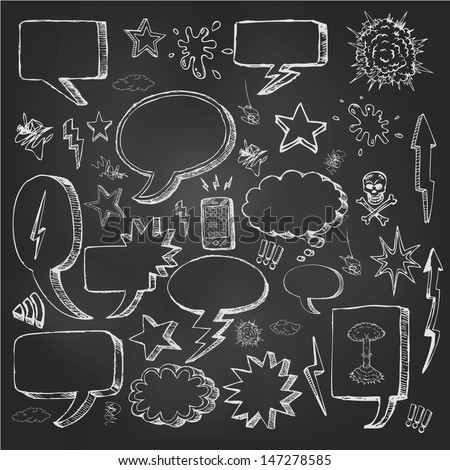 Speech bubbles doodles in black chalkboard - stock vector