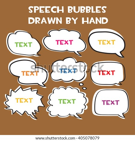 speech bubbles drawn by hand. vector. EPS10. - stock vector
