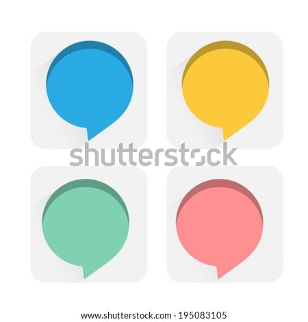 Speech bubbles flat icons - stock vector