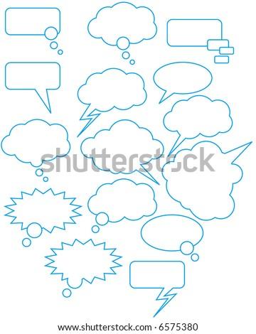 speech bubbles for the drawn comics - stock vector