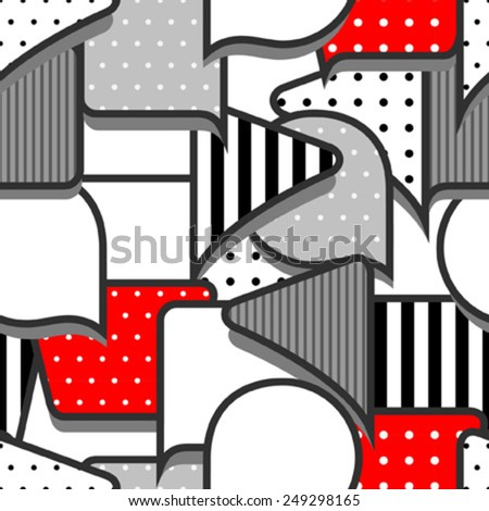speech bubbles grey red white seamless pattern - stock vector